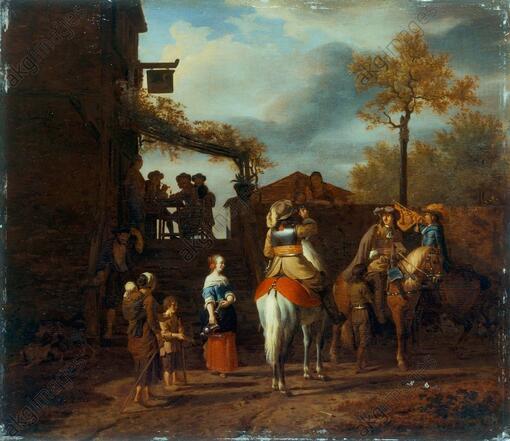 """""""Drei Reiter vor dem Wirtshaus"""" - Gemälde von Adriaen van de Velde"""